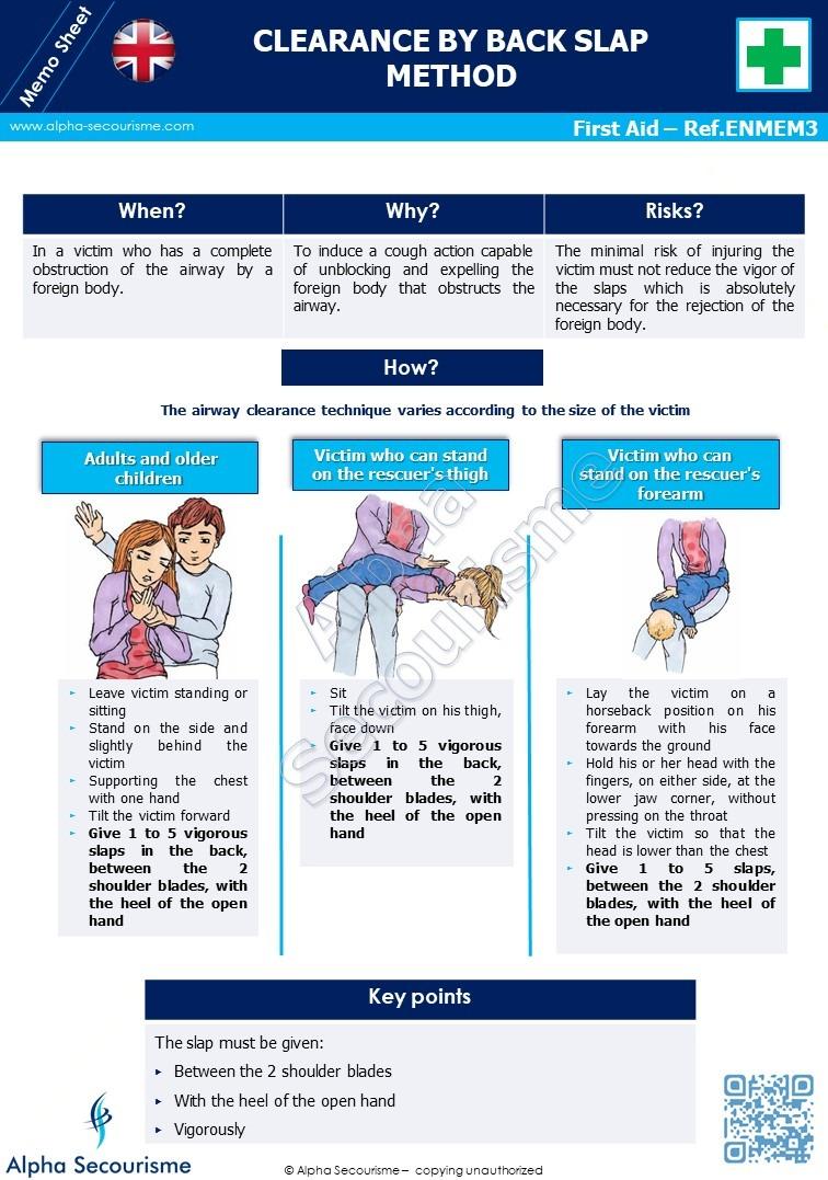Memo Sheet First Aid 3 - Alpha Secourisme